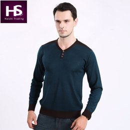 Wholesale Cashmere Jerseys Hombre - Wholesale-High Quality American Style Wool Sweater Men Brand Clothing Mens Sweaters Button V-Neck Cashmere Pullover Men Pull Jersey Hombre