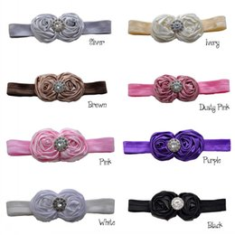 Baby Hair Accessory Matching Double Satin Rosette Flower With Sparking Rhinestone Headband Luxe Headband 24pcs lot