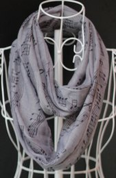 Wholesale New Musical Note Print Infinity Scarf Designer Foulard Femme Women Cheap Beach Viscose Snood Ring Scarves