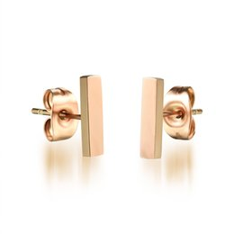 Stainless Steel Rose Gold Square Bar Earrings Staple Stud Earring Delicate Simple Studs Minimalist Earrings Handmade Bar Studs