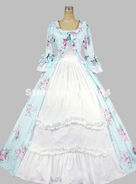 2015 Elegant Green And White Floral Print Medieval Renaissance Gothic Victorian Ball Gowns 17th 18th Civil War Victorian Dress