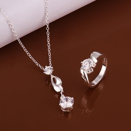 High grade 925 sterling silver Piece drops - white jewelry sets DFMSS595 brand new Factory direct sale wedding 925 silver necklace ring
