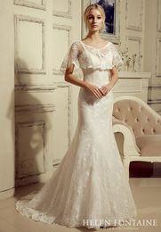 Wholesale 2016 Girl Antique Bridal Gowns Mermaid Long V neck Spaghetti Straps Lace Wedding Gowns With Cape Vestidos De Novia HFW10207