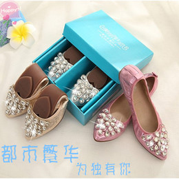 Wholesale Egg Roll shoes small size leather soft beef tendon at the end of the end of rhinestone flat shoes size women s shoes