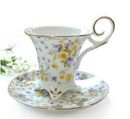 Gros-180ml chaud de vente! Expédition Céramique Cup Classic Fleurs os haut de gamme en Chine Coffee Cup Red Tea Set Porcelaine Dazzle Or gratuit! à partir de thé floraison gros en chine fabricateur