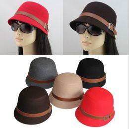 Wholesale-HOT Vintage Lady Women Wide Brim Bowler Fedora Wool Retro felt Hat Bucket Cap