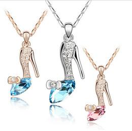 Promotion pendeloques de cristal High Quality Or Trendy / Collier avec pendentif Slipper Cendrillon Verre Plaqué Cristal Bijoux en argent pour les femmes