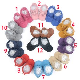 Wholesale 12 Color Baby moccasins soft sole PU leather first walker shoes baby leather newborn shoes Tassels maccasions boot bootie sweet girl B001