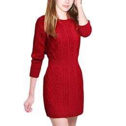 Women Pullover Winter Sweaters 2016 All-match Slim Badage Knitted Sweater Long sleeved Sweater Dress Ladies Long Sweater 3 Color