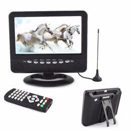 Wholesale 7 inch Portable LCD Analog TV Mini Monitor Digital Mobile TV FM MP3 USB Slot Car Reader SD MMC US EU plug