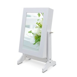 Wholesale Wood Table Top Jewelry Box Mirror Jewelry Cabinet Free Stand With Black Felt for Jewelry Cosmetic Display USA warehouse