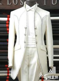 Gros-Nouvelle arrivée Coat + pantalon + chemise + ventre ceinture + cravate 5 jeux Livraison gratuite 2015 fashion costumes blancs pour les robes des hommes du parti des hommes de mariage dress shirts tie set on sale à partir de chemises habillées ensemble cravate fournisseurs