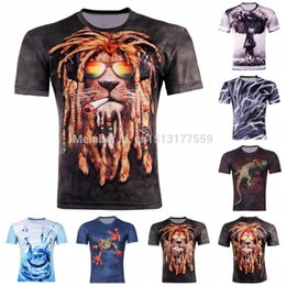 Wholesale-10 Stytle T Shirt Hot Selling 2015 New 3D Printed lion T Shirt Men M-4XL 100% polyester Brand T-Shirt Free Shipping