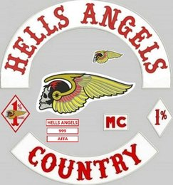 Wholesale HELLS ANGELS Motorcycle Original Embroidery twill Biker Patches for Jacket Back Full Size Set DIY