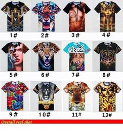 Wholesale 2014 Brand New Men s D stereo t shirt tide short sleeve t shirt slim fit loose tshirt hip hop beauty tiger leopard print funny Anime Lion