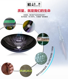 Wholesale Bathroom tempered glass sink handcraft counter top round basin wash basins cloakroom shampoo vessel bowl HX026