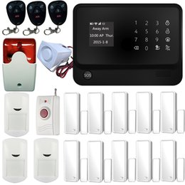 Wholesale Professional Multi Functional WiFi Wireless GSM SMS Home Security Alarm System IOS Android Control Kit With Indoor Flashing Siren Black