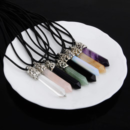 Wholesale Natural crystal Gems Stones hexagonal bullet pendant Necklaces for women men DIY jewelry gift for girl HOT SALE