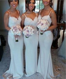 Wholesale 2015 Best selling hot sale summer beach wedding long Bridesmaid dresses sexy spaghetti straps lace appliques evening gowns sweep train party