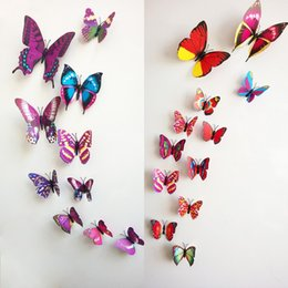 12pieces lot PVC Butterfly 3D Wall Sticker For Kids Room Living Room Decoration Style Choose ZYQ1*1