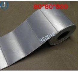 Wholesale 80 mm Thermal transfer blank barcode adhesive PET labels metal foil labels Silver matt papers