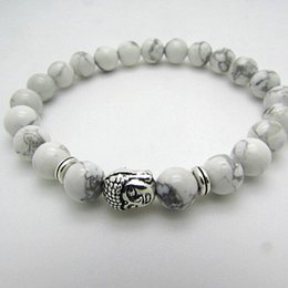 Wholesale Natural White Turquoise Stone Beaded Silver Buddha Bracelet New Products Mens and Womens Boys Girls Jewelry