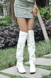 Ladies fashion sexy flat winter boots over the knee high leg long boots 34-47 size