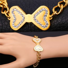 Women's Rhinestone Stainless Steel Jewelry 18K Gold Plated Cuban Link Chain with Cute Bowknot Charm Bracelet