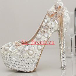 Boda de la sandalia del tacón alto cm en Línea-Espumoso blanco cristal perlas boda zapatos con borlas punta redonda 12 cm los 13 cm 14 cm de tacón alto plataforma nupcial vestido partido bombas para las mujeres 2016