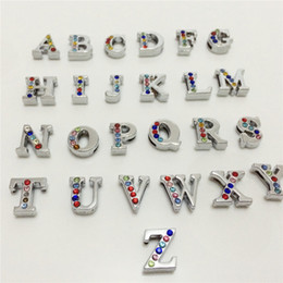 Wholesale 52PCS Lot 8MM Half Colorized Rhinestones Slide Letters A-Z Alphabet DIY Slide Charms Fit 8MM Wristbands Bracelets Belts SL21
