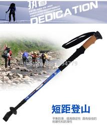 Wholesale alpenstocks Step aluminium alloy section Hiking walking pole Telescopic Antishock Pole Walking Stick Cork Handle Bar