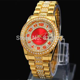 Wholesale 2014 New Women Watch Auto Date Stainless steel gold rose gold red dial Quartz watches Woman Wristwatch full of diamond