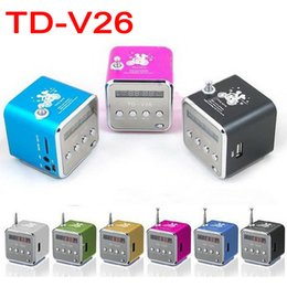 Wholesale TD V26 Mini Portable Micro SD TF Card USB Disk Speaker MP3 Music MP3 Player Amplifier Stereo FM Antenna Radio with Multi color LED flashing