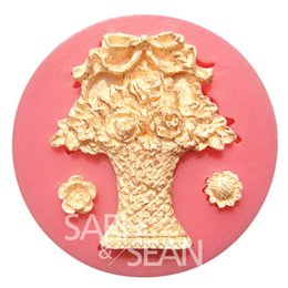 Wholesale Silicone Molds For Cake Decoration - M0752 Flower basket flower fondant cake molds chocolate mould for cake cup the kitchen baking Sugarcraft Decoration Tool