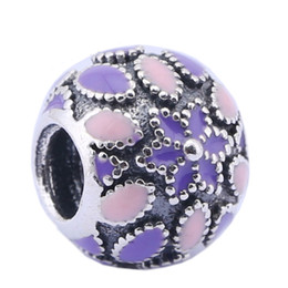Sterling Silver Charms 925 Ale Pink Enameled Floral European Charms for Pandora Bracelets DIY Beads Accessories