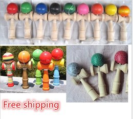 Wholesale Kendama Ball jeu compétences à billes japonais Bois jeu traditionnel Kendama Boule Education Toy Enfants Intelligence cadeau Toy p B142