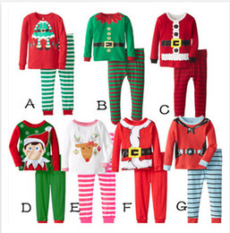 Wholesale Christmas Pajamas Long Sleeve Pyjamas Boy Girl Autumn Winter Pajamas Kids Pajama Sets Xmas Pajamas Baby Sleepwear Kids Cothes Set m00689