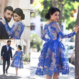 2017 Royal Blue Said Mhamad Lace Homecoming Dresses Sheer Crew Neck Long Sleeves Short Prom Evening Gowns Elegant Cocktail Gowns BO985