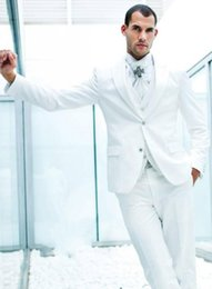 New Arrival Groom Tuxedos White Groomsmen Notch Lapel Best Man Suit Bridegroom Wedding Prom Dinner Suits (Jacket+Pants+Tie+Vest) K622