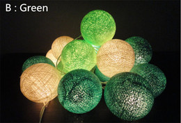 Free shipping 20 Balls Set 3M greee+shadow gree+white String cotton ball lights lamps for home Holidays Decorations
