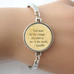 Wholesale Glass silver Mahatma Gandhi Quote bracelet Be The Change You Wish To See In The World Inspirational Art bangle faith jewelry