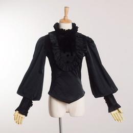 High Quality Vintage Victorian Gothic Black Blouse Lolita Style Romantic Shirt Tops Ruffles Reenactment for Women