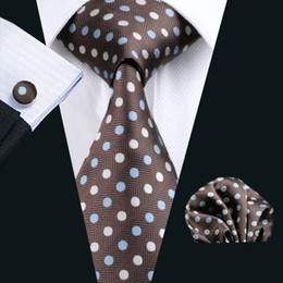 Mens Dot Style Neck Tie Set Pocket Square Cufflinks Jacquard Woven Mens Silk Tie Formal Work Meeting Leisure N-0911