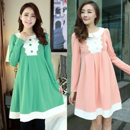 2015 New Arrive Autumn Winter Patchwork Maternity Clothes Korean Casual Cotton Long Sleeve Cute Dress For Pregnant Women