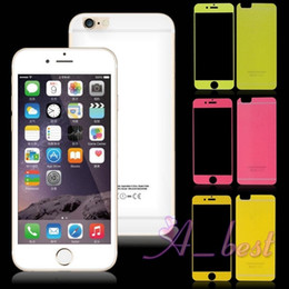 ePacket .For iPhone 6 Plus 5S Colorful Tempered Glass Front + Back Screen Protector in retail package For iPhone6 iP6 Glass Screen