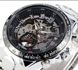 2017 New Winner Chronograph Clock Automatic Stainless Men Full Steel Skeleton Watch Men Mechanical Mens Watch Wristwatch For Men