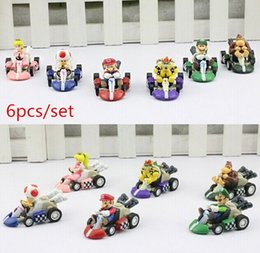 Super Mario Bros Car Toy Full Set 6 pcs Super Mario Bros Kart PULL BACK Cars Figures super mario kart figure Classic Toys free shipping