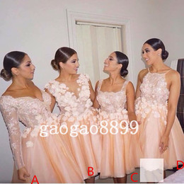 Blush Lace Tulle Beach Party Short Bridesmaid Dresses Long Sleeve 3D Floral Knee-length Maid Of Honor Wedding Party Guest Gown Cheap