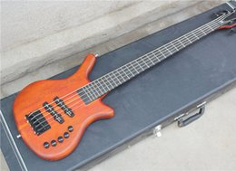 5-String W Electric Bass with 26 Frets,Reddish Brown Body,Neck-thru-Body Design,Korean Pickups,Case not Included