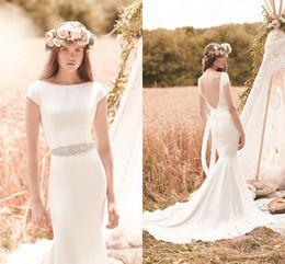 Bohemian 2016 Backless Beach Wedding Dresses Cap Sleeves Crystals Mermaid Satin Wedding Gowns Sexy Bridal Dresses